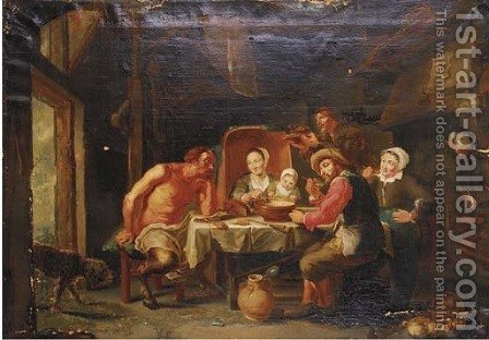 A satyr and peasants feasting by (after) Jacob Jordaens - Reproduction Oil Painting