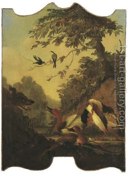 A wooded river landscape with ducks being stalked by a dog by (after) Jacomo (or Victor, Jacobus) Victors - Reproduction Oil Painting