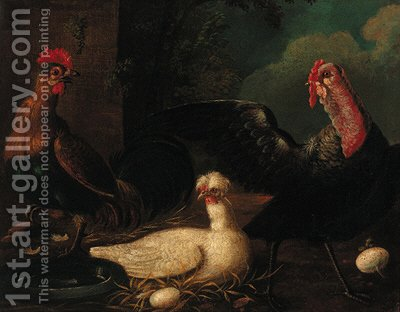 Poultry in a farmyard by (after) Jacomo (or Victor, Jacobus) Victors - Reproduction Oil Painting