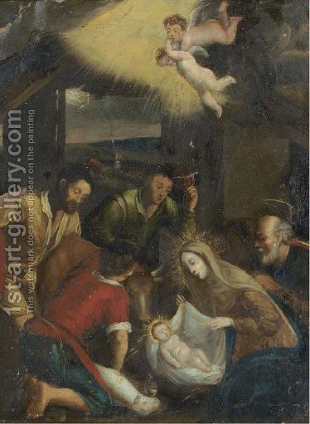 The Adoration of the Shepherds by (after) Jacopo Bassano (Jacopo Da Ponte) - Reproduction Oil Painting