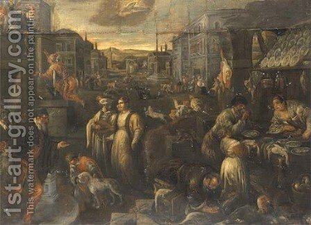 A street market with townsfolk dressed for carnival by (after) Jacopo Bassano (Jacopo Da Ponte) - Reproduction Oil Painting