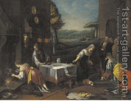 Christ in the house of Martha and Mary by (after) Jacopo Bassano (Jacopo Da Ponte) - Reproduction Oil Painting