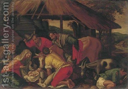 The Adoration of the Shepherds 4 by (after) Jacopo Bassano (Jacopo Da Ponte) - Reproduction Oil Painting