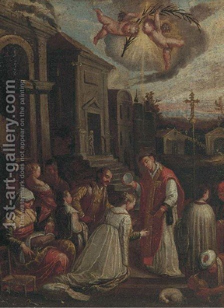 The Baptism of Saint Ludmilla by (after) Jacopo Bassano (Jacopo Da Ponte) - Reproduction Oil Painting
