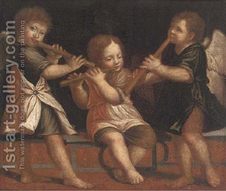 Three putti playing flutes by (after) Jacopo Tintoretto (Robusti) - Reproduction Oil Painting