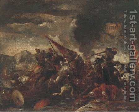A cavalry battle 2 by (after) Jacques (Le Bourguignon) Courtois - Reproduction Oil Painting