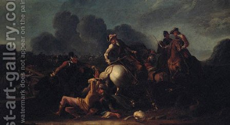 A cavalry battle 4 by (after) Jacques (Le Bourguignon) Courtois - Reproduction Oil Painting