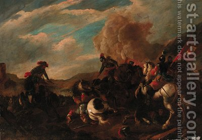 A cavalry battle 5 by (after) Jacques (Le Bourguignon) Courtois - Reproduction Oil Painting