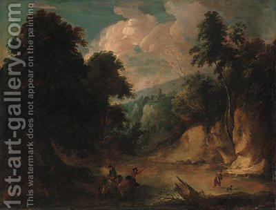 A rocky river landscape with a fisherman and a drover watering cattle by (after) Jacques D' Arthois - Reproduction Oil Painting