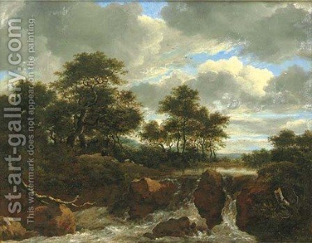 A wooded river landscape with a waterfall 2 by (after) Jacob Van Ruisdael - Reproduction Oil Painting