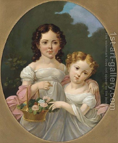 Portrait of two girls by (after) James George O'Brien - Reproduction Oil Painting