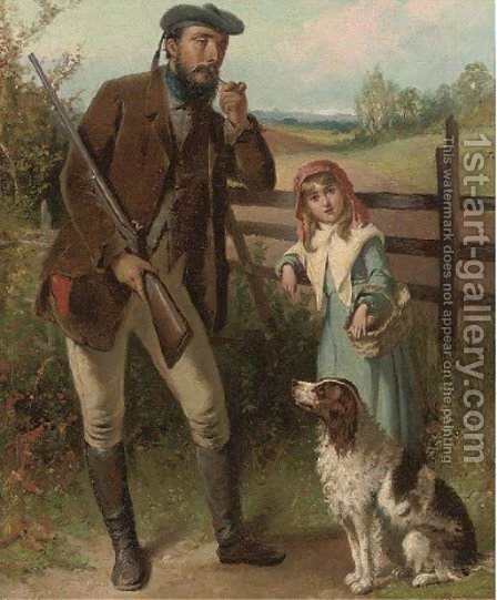 A gamekeeper and his daughter by (after) James Jnr Hardy - Reproduction Oil Painting