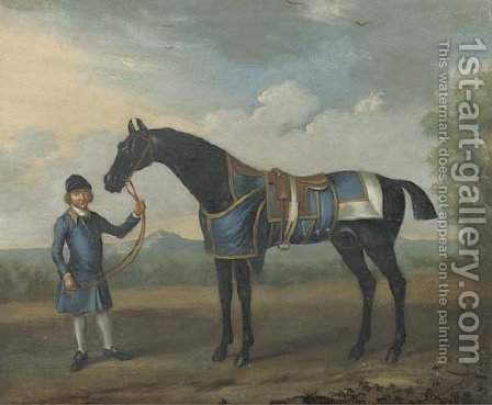 A black Bay race horse and a groom in a landscape at the Bolton races in 1734 by (after) James Seymour - Reproduction Oil Painting