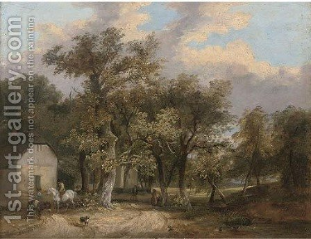 Figures and animals before cottages in a wooded landscape by (after) James Stark - Reproduction Oil Painting