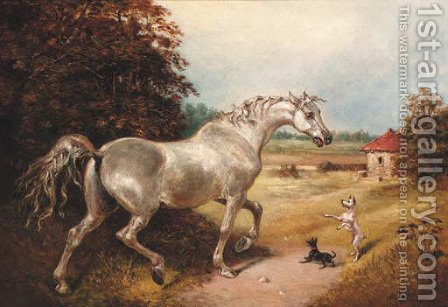 A grey with two dogs in a wooded landscape by (after) James Ward - Reproduction Oil Painting