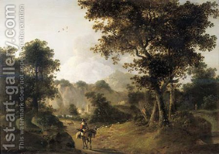 A muleteer on a track in an Italianate landscape by (after) Jan Both - Reproduction Oil Painting