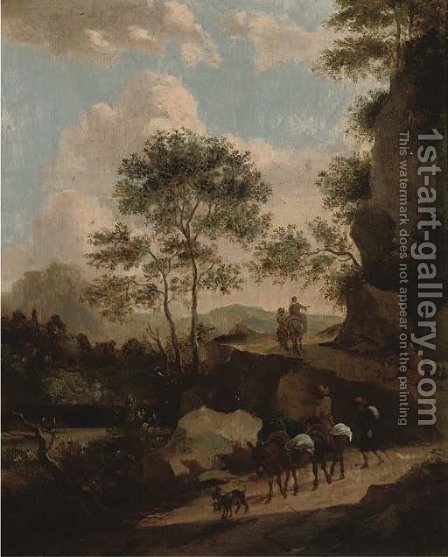 A rocky landscape with travellers on a path by (after) Jan Both - Reproduction Oil Painting