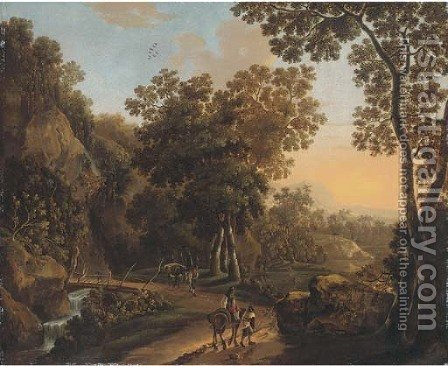 A wooded landscape with travellers on a hillside track by (after) Jan Both - Reproduction Oil Painting