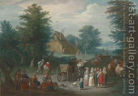 A wooded landscape with villagers by a market by (after) Jan, The Younger Brueghel - Reproduction Oil Painting