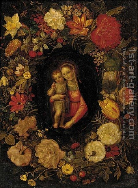 The Virgin and Child set in a feigned cartouche of carnations, tulips, daffodils and other flowers by (after) Jan-Erasmus Quellinus - Reproduction Oil Painting
