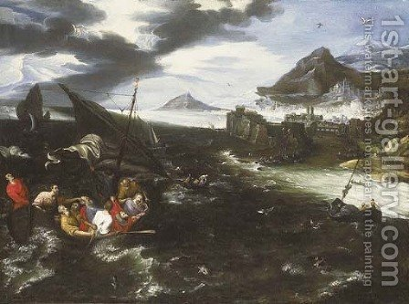 Christ in the storm on the Sea of Galilee by (after) Jan, The Younger Brueghel - Reproduction Oil Painting