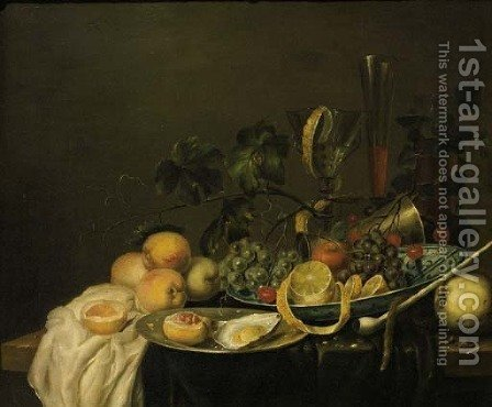 Grapes, a peeled lemon, an orange and cherries on a Wan-li dish by (after) Jan Davidsz. De Heem - Reproduction Oil Painting