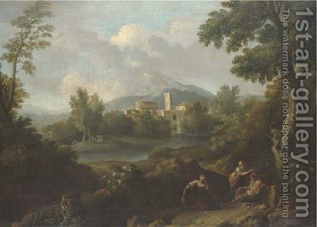 An Italianate landscape with classical buildings and figures by a lake by (after) Jan Frans Van Orizzonte (see Bloemen) - Reproduction Oil Painting