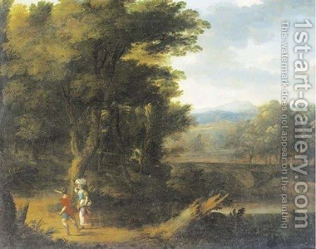 A classical landscape with figures on a track by (after) Jan Frans Van Bloemen, Called Il Orrizonte - Reproduction Oil Painting