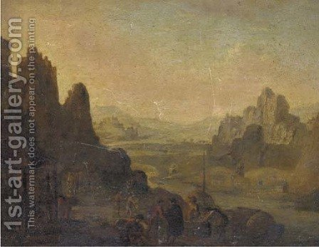 A Rhenish landscape with the vendage by (after) Jan Griffier - Reproduction Oil Painting