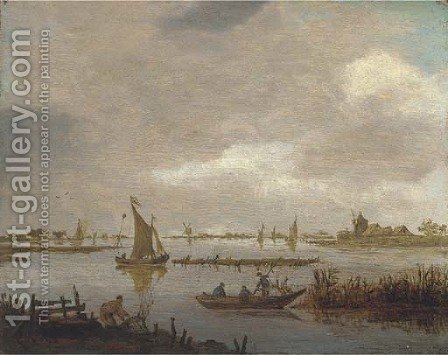 A river landscape with fishermen by (after) Jan Van Goyen - Reproduction Oil Painting