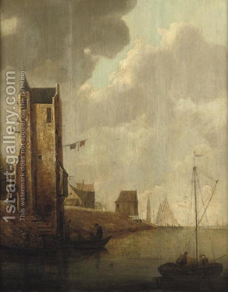 A river landscape with fishermen in their boats by a ruined tower, shipping beyond by (after) Jan Van Goyen - Reproduction Oil Painting