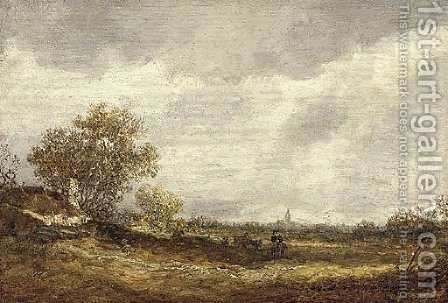An extensive landscape with a horseman and other travellers on a path near a cottage, a church spire beyond by (after) Jan Van Goyen - Reproduction Oil Painting