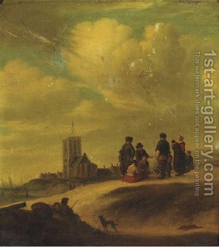 Fishermen and townsfolk on the beach at Egmond aan Zee by (after) Jan Van Goyen - Reproduction Oil Painting