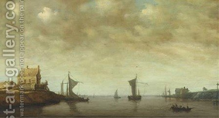 Shipping by the Oude Wachthuis on the Kil near Dordrecht by (after) Jan Van Goyen - Reproduction Oil Painting