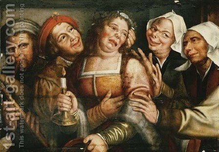 Peasants carousing with a woman holding a candle by (after) Jan Massys - Reproduction Oil Painting