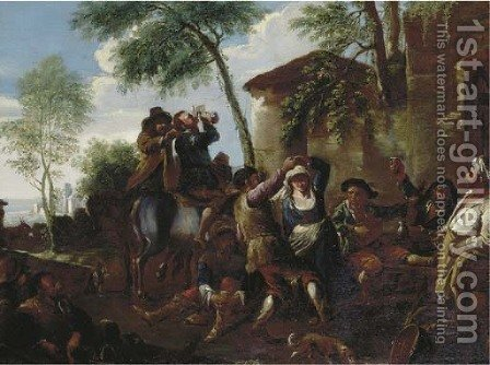 Peasants dancing the Saltarello by a farmhouse by (after) Jan Miel - Reproduction Oil Painting