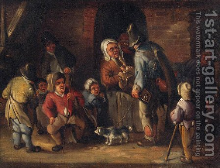 A hurdy-gurdy player conversing with peasants outside a cottage by (after) Jan Miense Molenaer - Reproduction Oil Painting