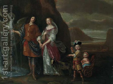A gentleman and his wife as Rebecca and Eliezer at the well by (after) Jan Mijtens - Reproduction Oil Painting