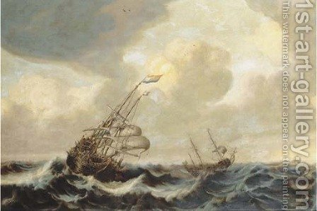 A Dutch three-master and other shipping in a stiff breeze at open sea by (after) Jan Porcellis - Reproduction Oil Painting