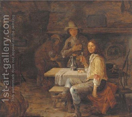 A gentleman drinking in a country inn by (after) Jan Steen - Reproduction Oil Painting