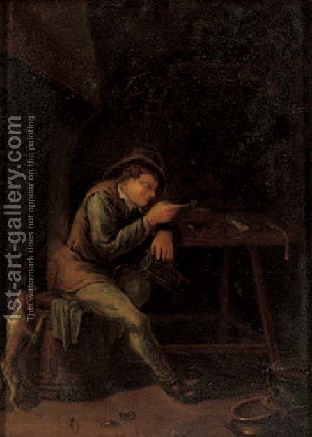 A peasant smoking a pipe in an interior with a dog by (after) Jan Steen - Reproduction Oil Painting