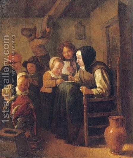 A woman teaching children to read and write in an interior by (after) Jan Steen - Reproduction Oil Painting