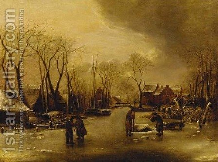 A frozen river landscape with figures cutting ice, a village beyond by (after) Jan Van De Cappelle - Reproduction Oil Painting