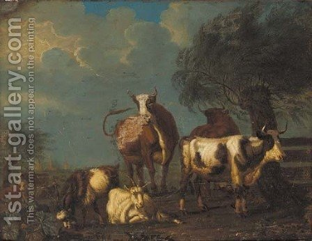 Cattle and goats in a pastoral lanscape, a village beyond by (after) Jan Van Gool - Reproduction Oil Painting