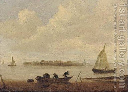 Figures in a boat by (after) Jan Van Goyen - Reproduction Oil Painting