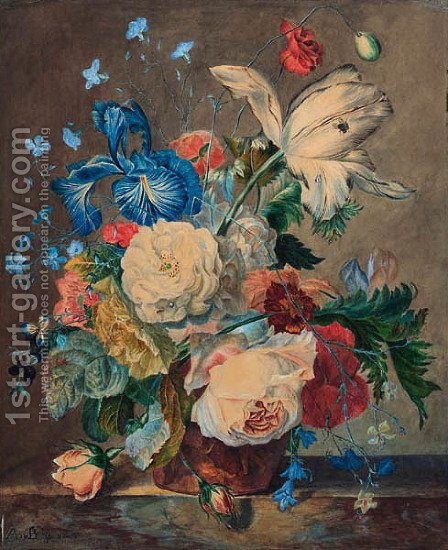 A still life of flowers by (after) Huysum, Jan van - Reproduction Oil Painting