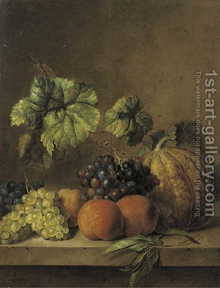 A melon, peaches and grapes on the vine on a ledge by (after) Jan Van Os - Reproduction Oil Painting