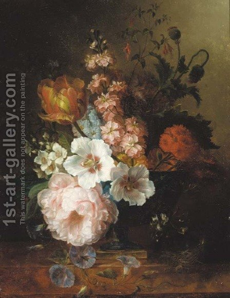 Flowers 2 by (after) Jan Van Os - Reproduction Oil Painting