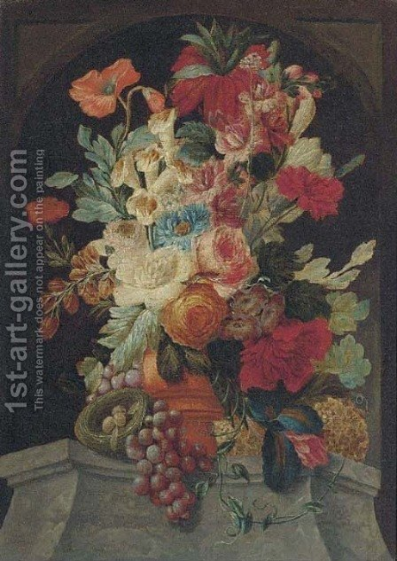 Mixed flowers in an urn on a ledge with grapes and a bird's nest by (after) Jan Van Os - Reproduction Oil Painting