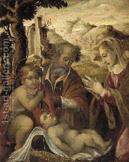 The Holy Family with the Infant Saint John the Baptist by (after) Jan Van Scorel - Reproduction Oil Painting